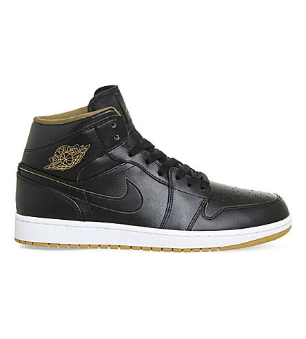 NIKE Air jordan 1 mid-top leather trainers (Black metallic gold