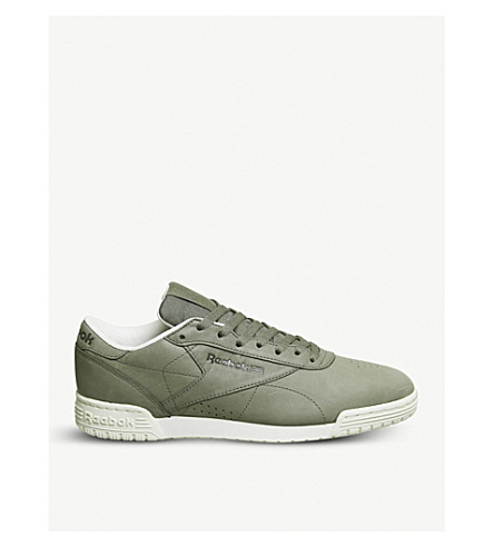 REEBOK Ex-O-Fit low-top leather trainers (Hunter+green+white