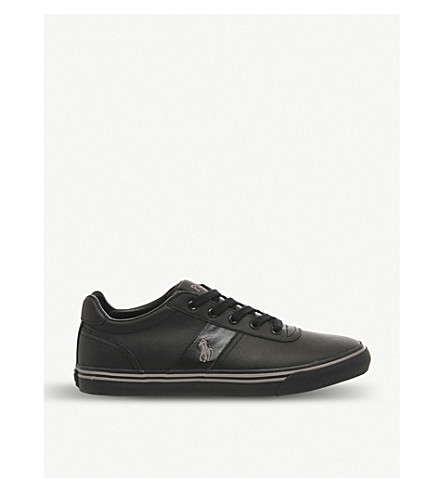 POLO RALPH LAUREN Hanford laceup leather trainers Blackmonoleather