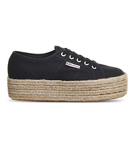 SUPERGA 2790 canvas espadrille flatforms (Black+espradrille