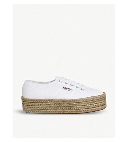 SUPERGA 2790 canvas espadrille flatforms (White+espadrille