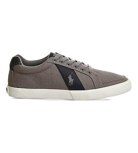 POLO RALPH LAUREN Hugh cotton low-top trainers (Grey navy canvas