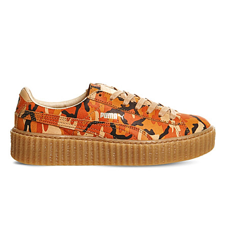 PUMA Camo-print leather creepers (Rihanna orange camo
