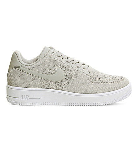 NIKE Air Force 1 Flyknit low top trainers (String+string+white