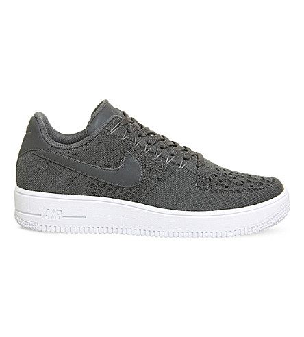 NIKE Air Force 1 flyknit trainers (Dark+grey+white