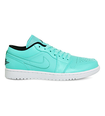 NIKE Air jordan 1 low-top leather trainers (Turquoise white