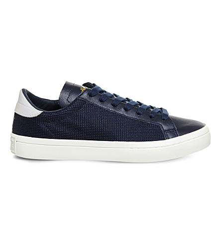 ADIDAS Court Vantage perforated leather sneakers (Collegiate+navy