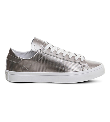 ADIDAS Court vantage metallic leather sneakers (Silver+metallic