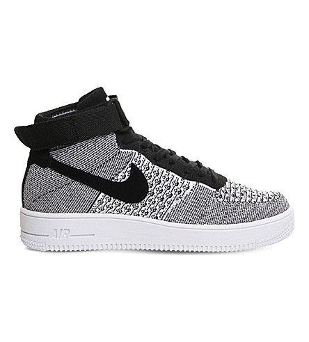 NIKE Air Force 1 flyknit mid-top sneakers (Black+white