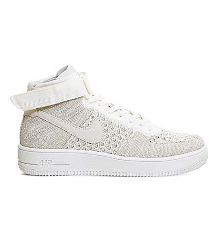 NIKE Air Force 1 flyknit mid-top sneakers (Sail+pale+grey+white