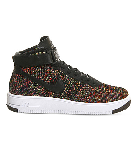 NIKE Air Force 1 Flyknit trainers (Black bright crimson