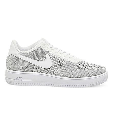 NIKE Air force 1 Flyknit low-top trainers (Wolf+grey+white