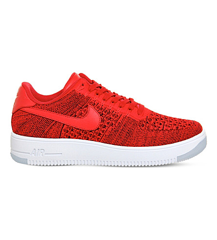 NIKE Air force 1 flyknit and leather low-top trainers (University red white
