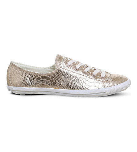 CONVERSE CT Lite 2 metallic-leather low-top trainers (Rose+metallic+snake
