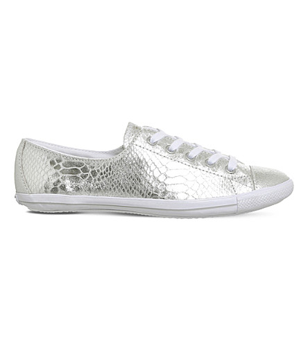 CONVERSE CT Lite 2 metallic-leather low-top trainers (Silver+snake