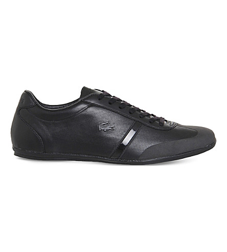 LACOSTE Mokara perforated leather trainers Blackleather PreviousNext