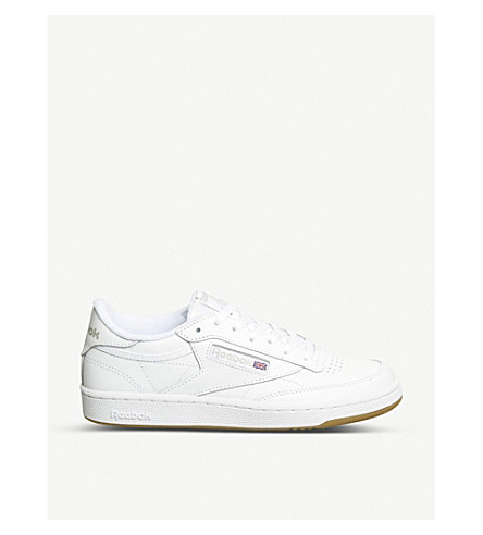 92767ccc72e ... REEBOK Club c 85 leather low-top trainers (White+grey+gum. PreviousNext