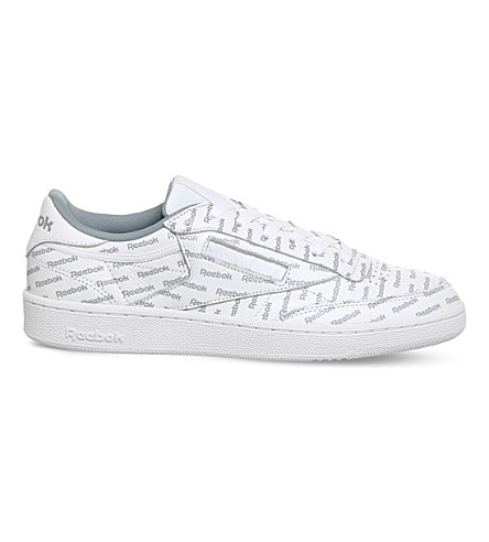 REEBOK Club C 85 logo-print leather trainers (Print+white