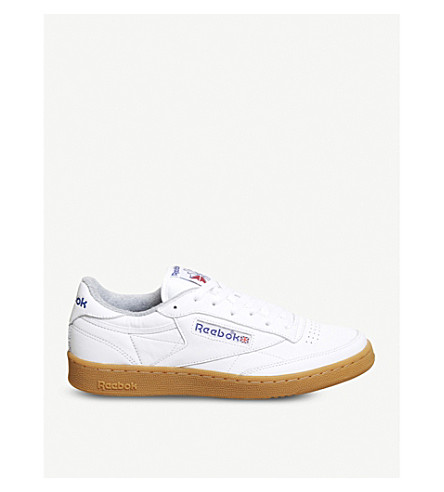 REEBOK Club c 85 leather low-top trainers (White+royal+grey+gum