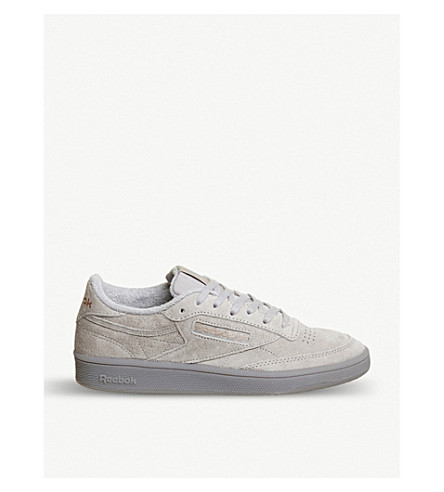 REEBOK Club C 85 low-top suede trainers (Skull+grey+gold