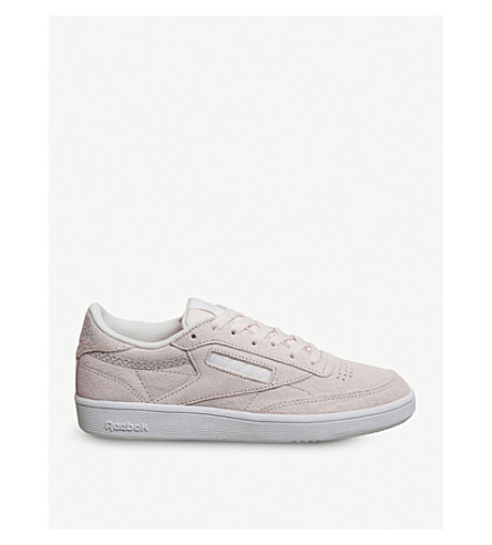 REEBOK Club c 85 suede low-top trainers (Pale+pink+white+trim