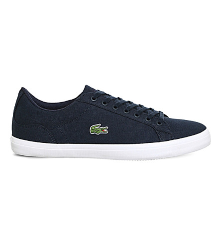 LACOSTE Lerond canvas trainers (Navy+canvas