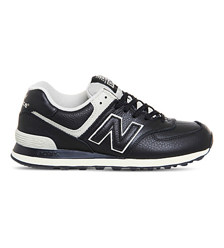 NEW BALANCE 574 lace-up leather sneakers (Black+powder