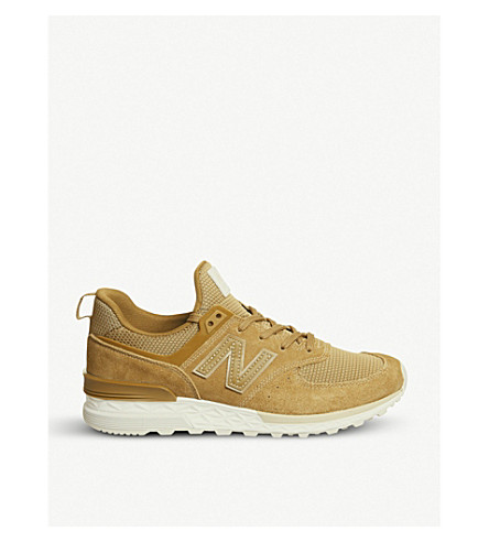 NEW BALANCE 574 Sport suede and mesh trainers (Brine