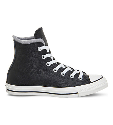 CONVERSE All star leather high top trainers (Black egret wool
