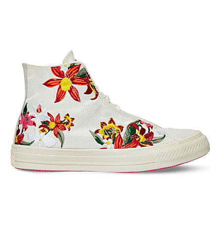 CONVERSE All Star floral-embroidered high-top sneakers (Patbo white floral