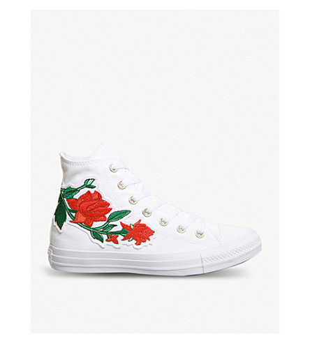 CONVERSE All Star embroidered high-top trainers (White+red+rose