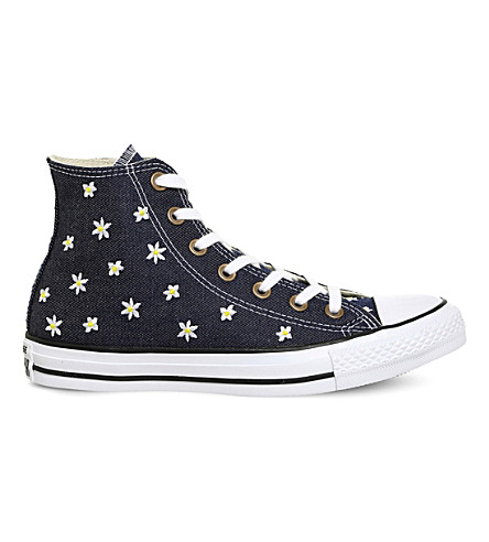 CONVERSE All Star flower-embroidered canvas trainers (Navy+yellow+festival