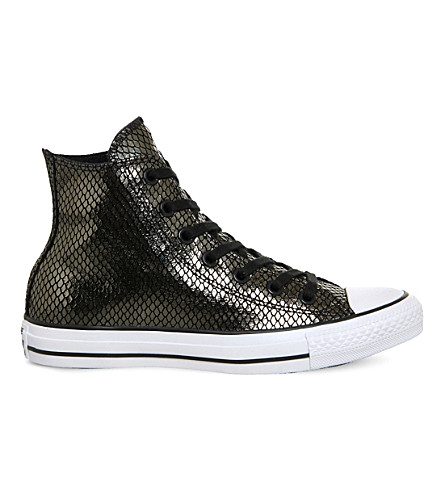 CONVERSE All Star snake-effect metallic trainers (Metallic snake black