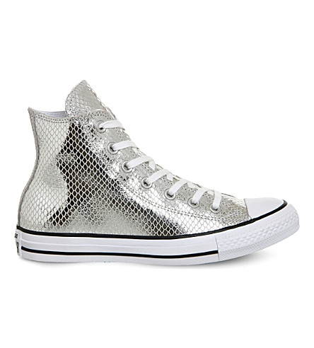CONVERSE All Star snake-effect metallic trainers (Snake silver