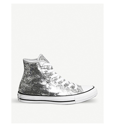 CONVERSE All Star high-top sequin trainers (Sequin+silver