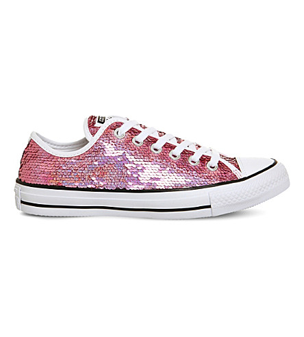 CONVERSE All Star sequined canvas low-top trainers (Passion pink sequin