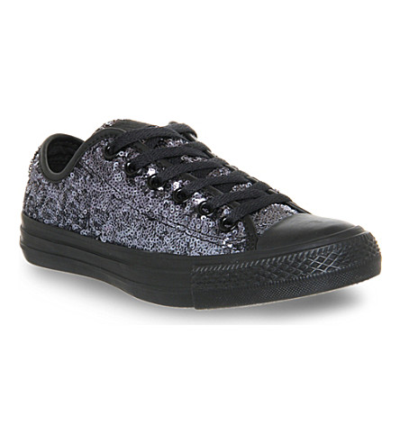 CONVERSE All star low-top sequin trainers (Black mono sequin
