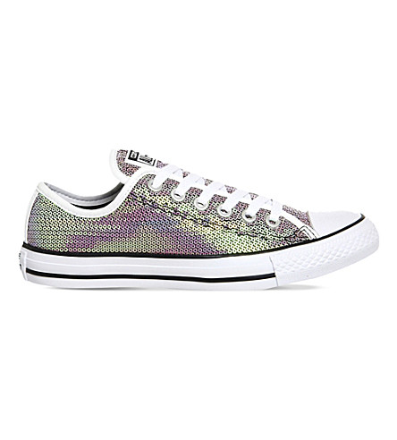 CONVERSE All Star sequined low top trainers (Orange white black