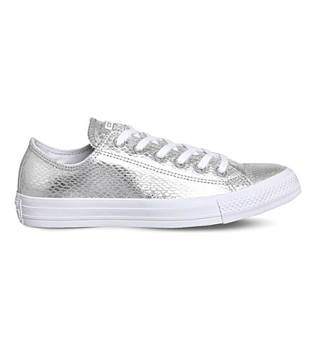 CONVERSE Converse All Star snake-embossed metallic sneakers (Silver+snake