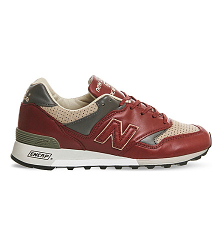 NEW BALANCE M577 leather sneakers (Burgundy+taupe+miuk