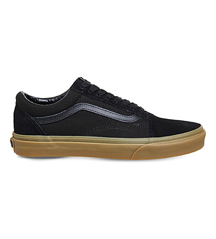VANS Old skool low-top canvas and suede trainers (Black+gum
