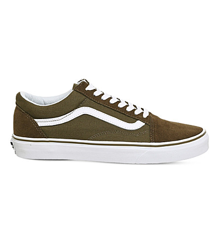 VANS Old Skool canvas and suede trainers (Dark+olive+white