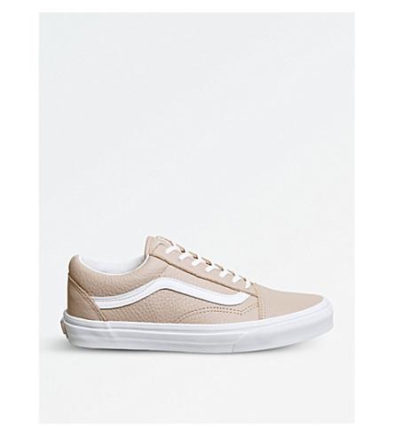 VANS 老斯库尔皮革和帆布运动鞋 (红木 + 玫瑰色 + 白色