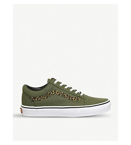 VANS 老斯库尔低帮帆布运动鞋 (迷你 + 豹 + 绿色