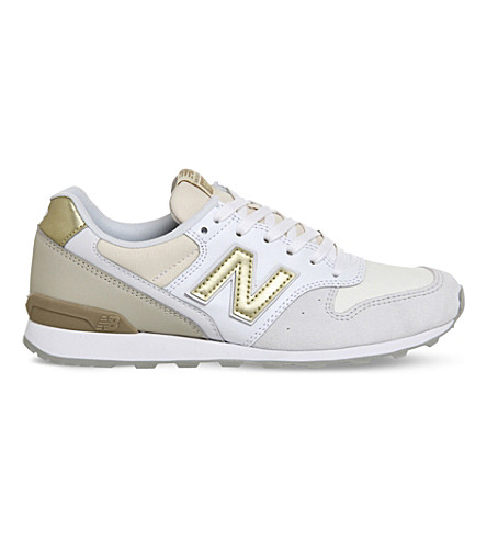 NEW BALANCE Wl996 suede and metallic leather trainers (White gold