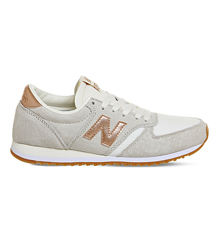 NEW BALANCE 420 suede and mesh trainers (Sea salt rose