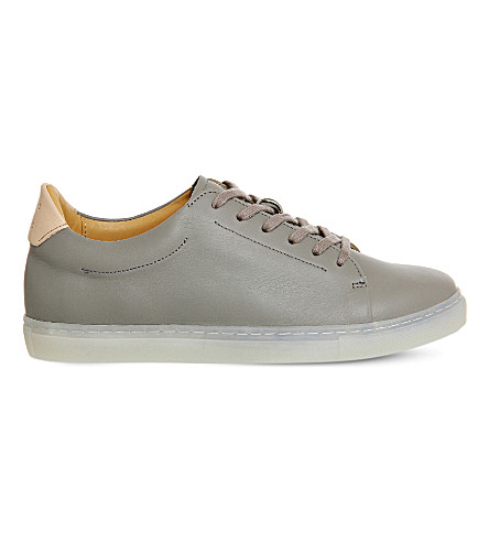 PAIRS IN PARIS No 1 Martel leather trainers (Grey+leather+silver
