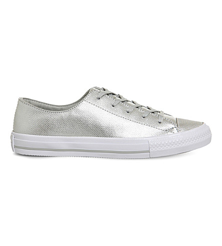 CONVERSE Gemma metallic-leather trainers (Silver+diamond+foil