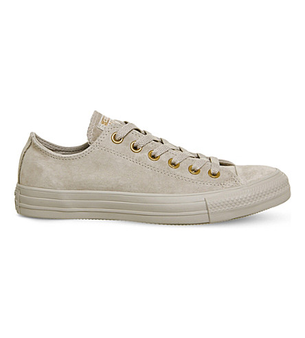 CONVERSE All Star low-top suede trainers (Mushroom+blush+gold