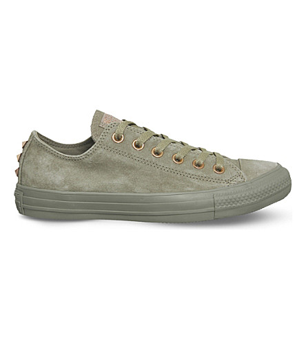 CONVERSE All Star low-top studded suede trainers (Khaki+stud